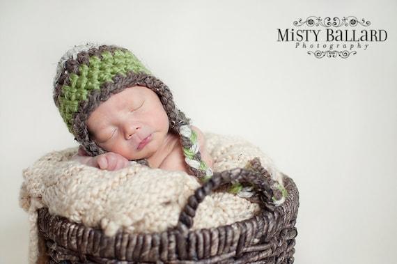 Crochet Baby Hats, Baby Boy Hats, Earflap Hat with Braids, Newborn, Photo Prop, Photo Prop Boys
