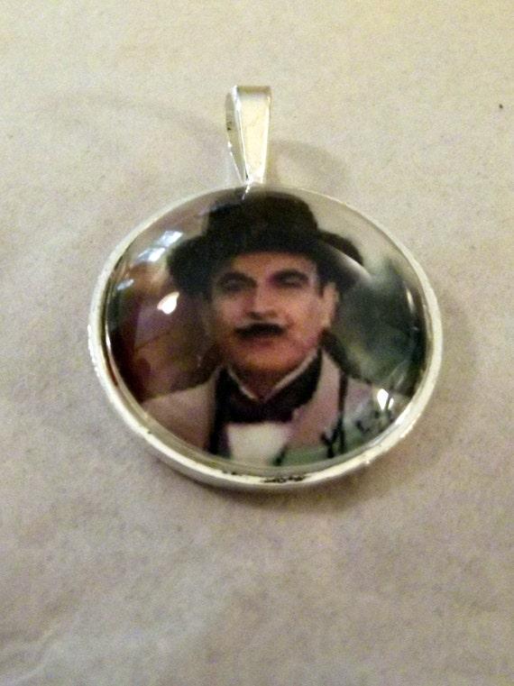 Hercule Poirot The Greatest Detective of All Glass Domed Pendant