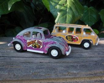 Vintage 1970s METAL Cars Bug Van Decorative Collectible TOOTSIETOY Purple Yellow Orange epsteam