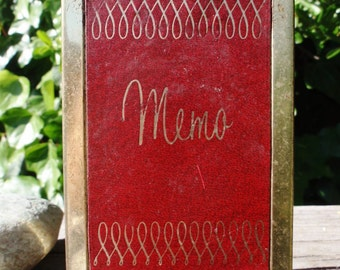 Vintage Memo Notepad Holder with Red Cover Mad Men Joan Unique 1960s epsteam Sale