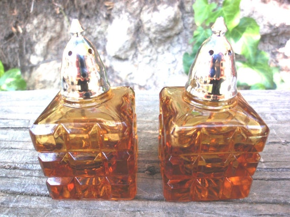 Vintage 1970s Amber Glass Cube Salt and Pepper Shakers MOD Rust Sale