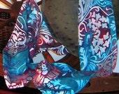 Fleur de Lis Hand Painted Silk Scarf
