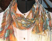 Tiger Stripes Velvet and Silk Scarf, Handpainted