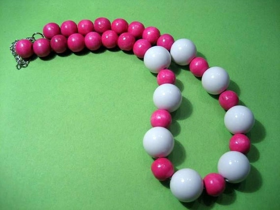 Wood Bead Necklace: Pink Pop