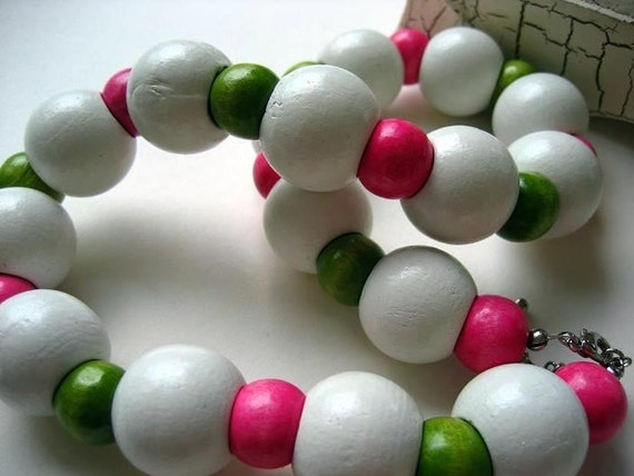 Wood Bead Necklace: Watermelon POP