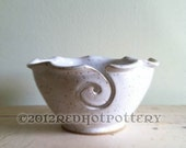 Yarn Bowl, Knitting bowl, craft supplies White Handmade ceramic pottery