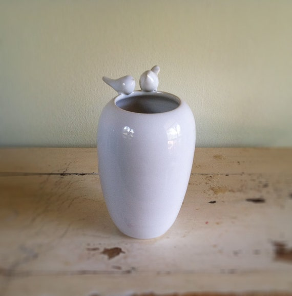 Lovebirds Vase White, wedding, vase, white doves, vessel