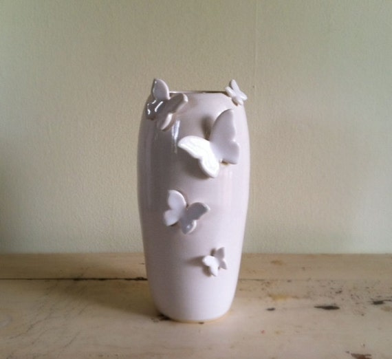 Five Butterflies Vase in White reserved for FMdesigns