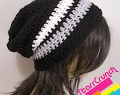 Slouchy Beanie Crochet Hat in Black White and Silver