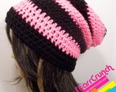 Slouchy Beanie Crochet Hat in UV Neon Pink and Black