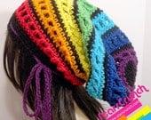 Slouchy Dread Tam Snood Crochet Hat in Chakra Rainbow Stripes