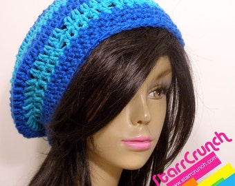 Slouchy Beret Tam Crochet Hat in Cyan and Cobalt Blue