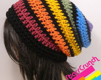 Slouchy Beanie Crochet Hat in Muted Rainbow Stripes