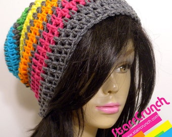 Slouchy Beanie Crochet Hat in Rainbow and Gray Stripes