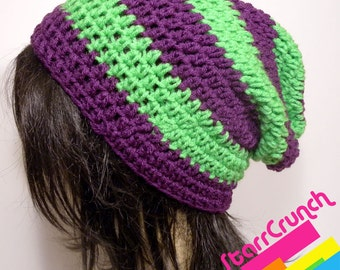 Slouchy Beanie Crochet Hat in Purple and Lime Stripes