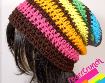 Slouchy Beanie Crochet Hat in Rainbow Stripes with Brown
