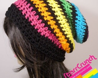 Slouchy Beanie Crochet Hat in Rainbow and Black Stripes
