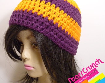 Skullcap Beanie Crochet Hat in Orange and Purple Large Size READY TO SHIP