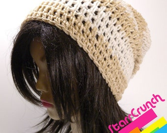 Slouchy Beanie Crochet Hat in Cream and Sand