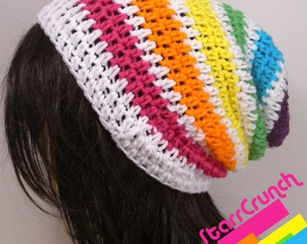 Slouchy Beanie Crochet Hat in Rainbow and White