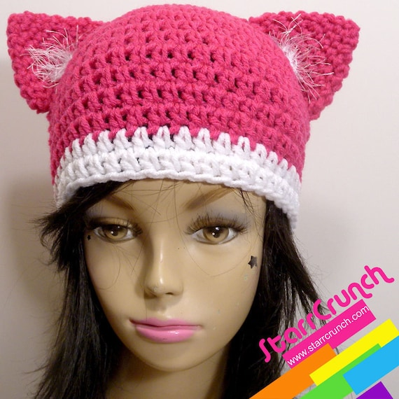 Kitty Cat Beanie Hat in Pink
