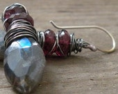 Wire wrapped Sterling Silver Earrings Lucious Labradorite and Raspberry Rhodalite Garnet