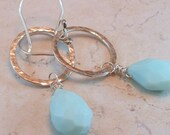 Peruvian Blue Opal and Sterling Silver Circle Earrings