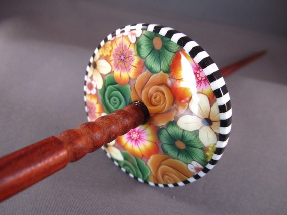 Millefiori Polymer Clay - Top / High Whorl Drop Spindle