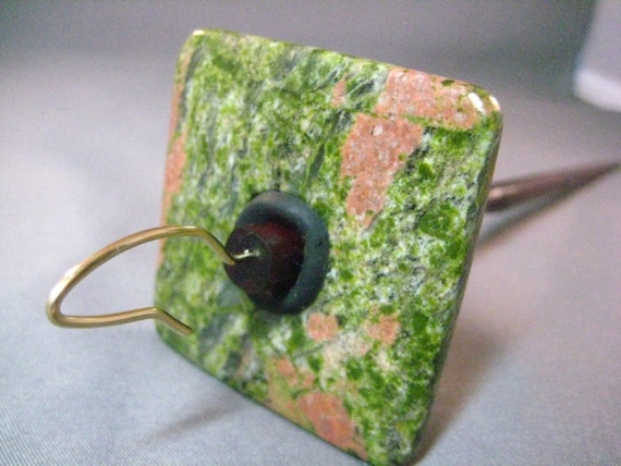 SQUARE UNAKITE - Top \/ high whorl drop spindle - Gold filled hook