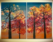 Sunset Fall Natural Decor, HUGE contemporary Abstract landscape Fine ART Original  Oil Painting  Forest 48x36