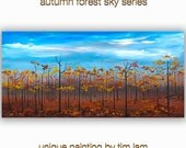 Autumn Forest Sky, Contemporary painting Autumn Natural Organic Art 78x36