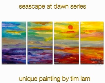 Large landscape painting original Abstract Sunrise Sea art, Contemporary multicolor impasto acrylic on canvas by tim lam 80x30x1