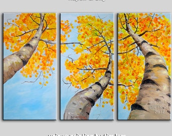 Inclined Fall Woodland, Huge Aspen Art Yellow leaf blue sky Original acrylic Painting 63x30