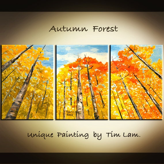 Gold tangerine Aspen Fall Forest tree art Modern Deco original XXL Abstract landscape OIL Painting by tim lam 63x30