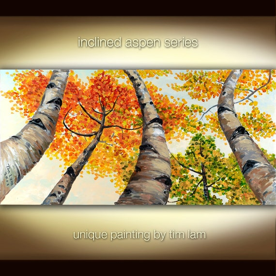 Inclined Aspen Forest, Contemporary painting Autumn Natural Organic Art 48x24x1