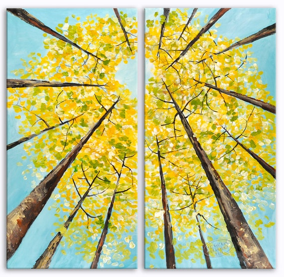 Look UP Fall Woodland, Fresh Art, Huge Original Painting 48x48