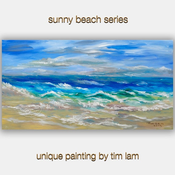 Blue Sky White Beach art,  Original large landscape painting acrylic painting modern fine art Ready to Hang by Tim lam 48x24
