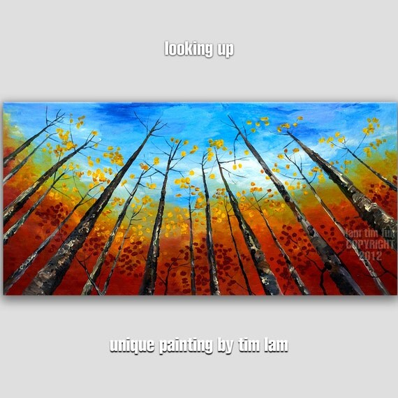 Look Up,  Autumn inclined Forest, Contemporary Huge Original acrylic Landscape Painting 48x24