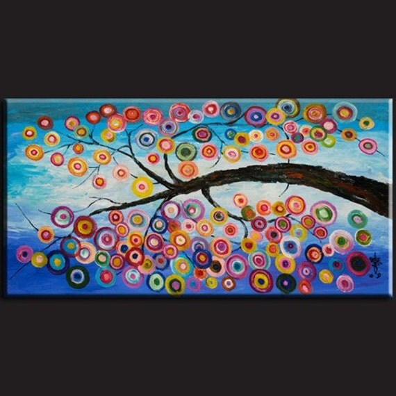 Original ABSTRACT Fancy Tree Contemporary HUGE painting  48x24x1
