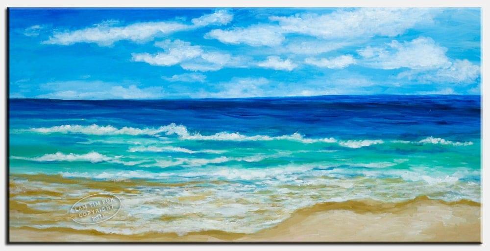 BEACH Huge Original acrylic painting 48x24