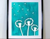 Peacock Dandelions Large Format Art Print