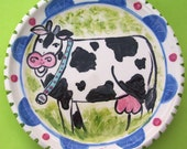 Funky Folk Art Pottery HEY MOOOoo To you too BABY I love Holstein COWS dessert PLATE