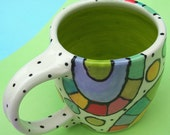 Funky Folk Art Pottery some where over the RAINBOW in my mind Multi Colored FUNKY muggie MUG time for COFFEE or TEA please