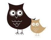 Owl vinyl decal Small Momma and Baby
