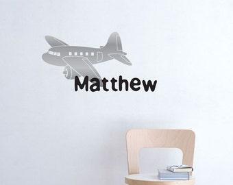 Childrens vinyl Plane and monogram Decal