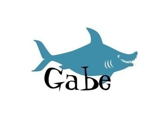 Childrens monogram and Shark Vinyl Wall Decal