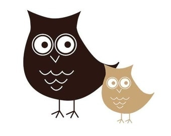 Owl's, Momma and Baby, Vinyl decals sz. small