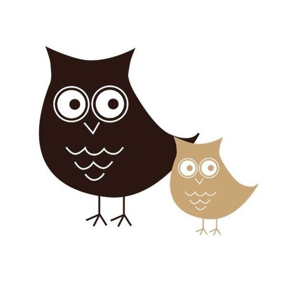 Small Momma and Baby owl NEW DESIGN vinyl decals
