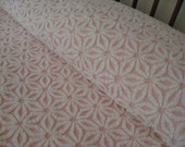 Vintage Chenille Bedspread - Hoffman Daisy - White on Pink - Full or Queen Coverlet - Just Gorgeous