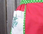 Vintage Christmas Apron - Red with Green Polka Dots and Bells